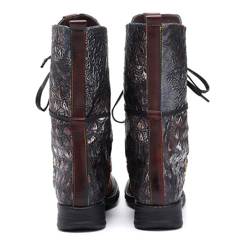 Round Toe Lace-Up Mid-Calf Flat Heel Riding Boots