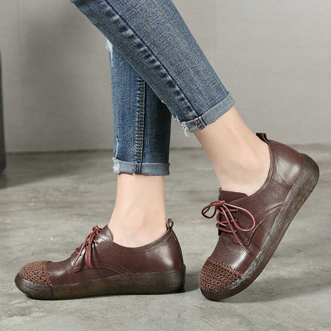 Lace-up style cotton and linen woven round leather loafers