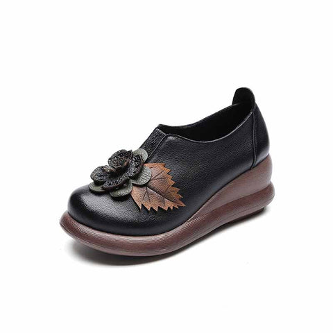 National style leather women's casual round head wedges heel flowers Loafers
