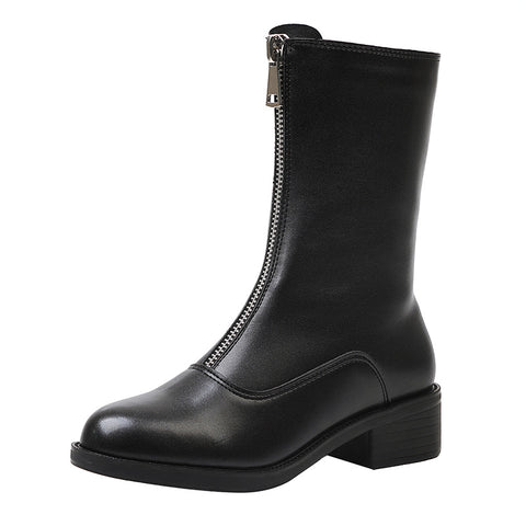 2019 autumn and winter new mid tube Martin women's boots England style front zipper