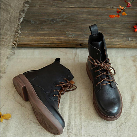 2019 autumn and winter new England retro leather short tube flat round head Martin boots