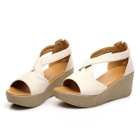 Casual Solid Color Hollow Back Zipper Peep Toe Wedge Heel Sandals