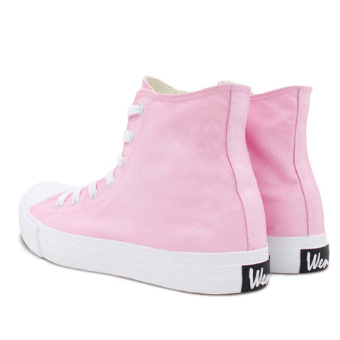 DIY Plus Size Pink Canvas Flat Heel Round Toe Upper High Sneakers