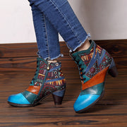Color Block Lace-Up Chunky Heel Ankle Boots