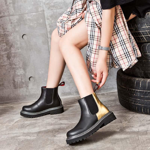 2019 new round head in the tube flat retro Chelsea Martin boots