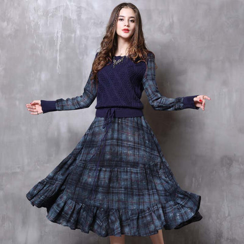 2019 autumn and winter new retro stitching long-sleeved knit dress
