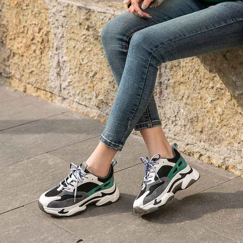Spring new velvet round toe thick bottom women's sneakers round toe light casual shoes