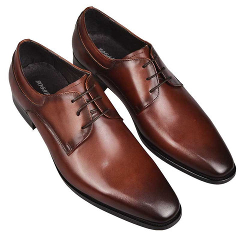 Leather Bullock carved business dress shoes