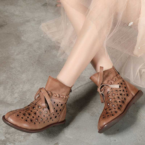 Vintage solid color round head sequined lace-up flat sandals
