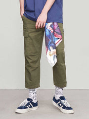 Men's solid color casual pants multi-bag overalls