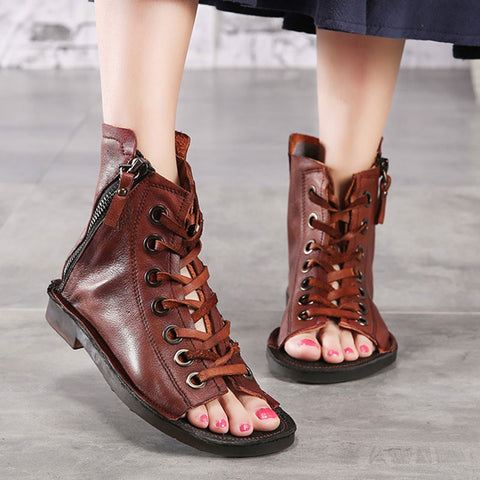 Hollow Lace-Up Zipper Leather Open Toe Flat Heel High-Upper Sandals