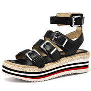 Casual Hollow Belt Buckle Platform Heel Ankle Strap Peep Toe Sandals