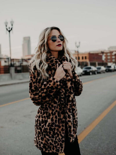 2019 autumn and winter new leopard coat imitation fur hair coat female long section thick warm fur coat