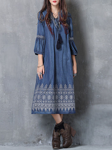 Vintage Tassel Lantern Half Sleeve Embroidery V-Neck Denim Dresses