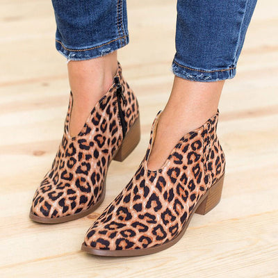 Leopard Side Zipper Chunky Heel Point Toe Ankle Boots