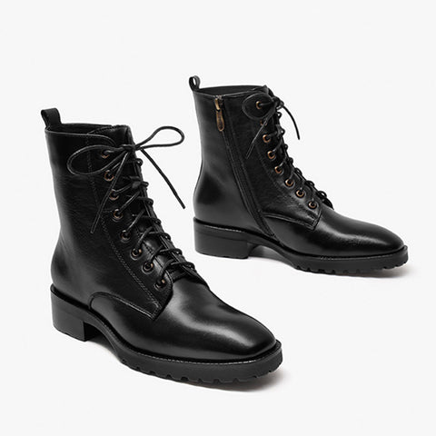Martin boots female 2019 new autumn and winter leather wild boots British wind flat boots retro knight boots