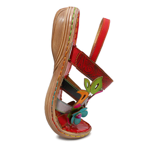 Unique Color Block Floral Flat Heel Leather Sandals
