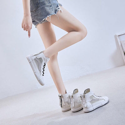 Women's breathable high-top mesh sneakers casual trendy wild thin shoes for summer and autumn