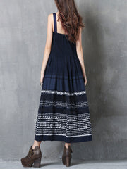 Embroidery Spaghetti Backless A-Line Pleated Patchwork Denim Dresses