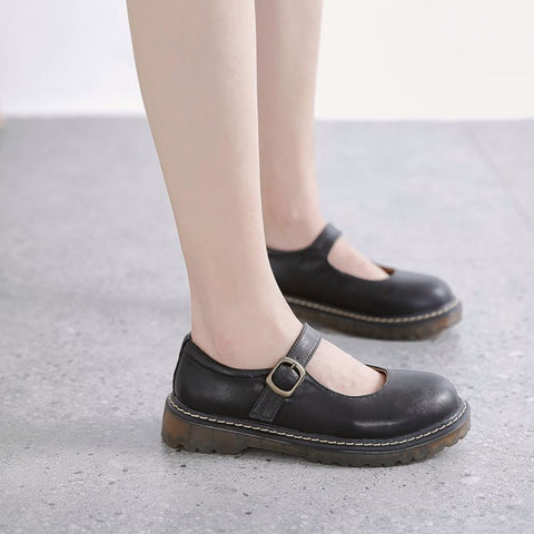 2019 new leather round head Lolita take Japanese style Martin shoes