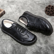 Soft Leather Patchwork Wing tips Cowhell Lace-Up Round Toe Loafers
