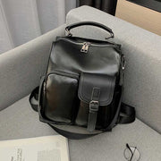 2020 New College Style PU Leather Pure Color Retro Women's Backpack