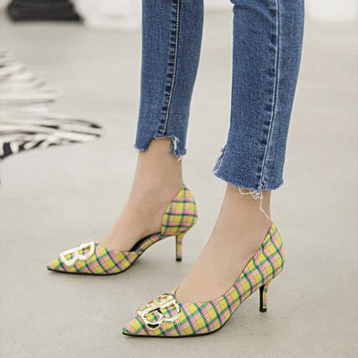 Side air pointed letter high heel women's shoes