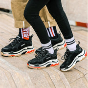 Hollow Color Block Lace-Up Platform Leather Sneakers