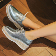 Solid Color Patchwork Lace-Up Square Toe Platform Leather Sneakers