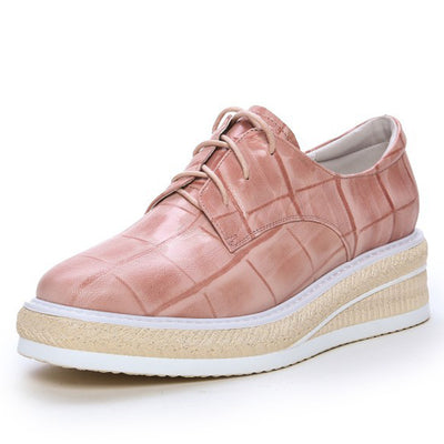 Fashion Plaid Platform Lace-Up Round Toe Leather Patchwork Sneakers