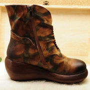 Camouflage vintage muffin platform cowhide leather boots