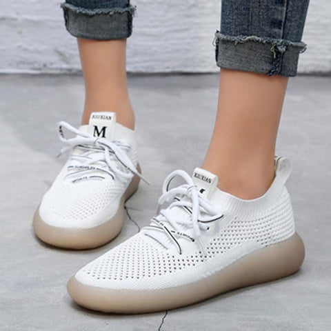 Solid Color Hollow Lace-Up Letter Round Toe Flat Heel Cowheel Sneakers