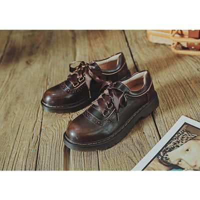 Women's Martin shoes retro college style wiping color leather shoes