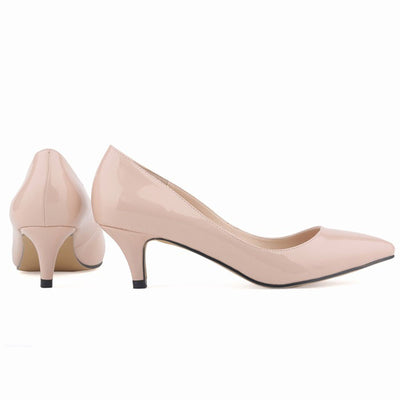 Shallow multi-color pointed head stiletto nude shoes