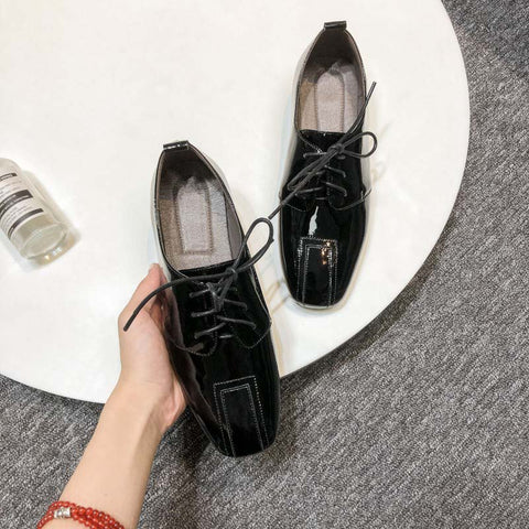 Spring and autumn new cow patent leather comfortable wild low-heeled square head solid color strap casual small shoes