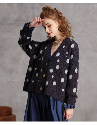 Autumn and winter new V-neck single-breasted polka-dot knitted cardigan women's loose sweater coat