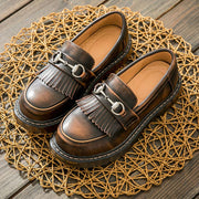 Vintage Round Toe Leather Tassel Sequins Buckle Cowhell Loafers