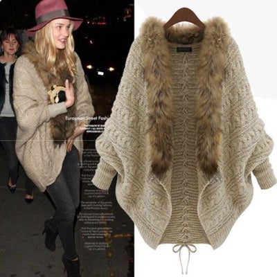 Loose plus size knitted cardigan sweater collar sweater coat