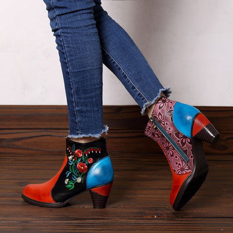 Color Block Embroidery Leather Side Zipper Chunky Heel Ankle Boots