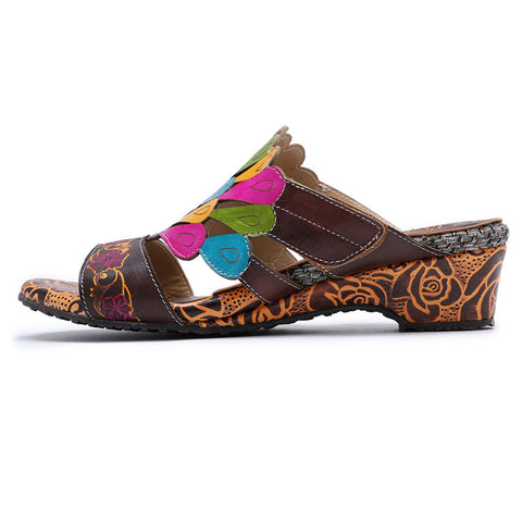 Bohemian Style Peacock Wedge Heels Leather Sandals