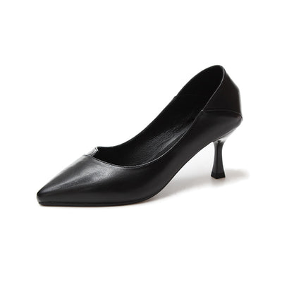 Leather pointed stilettos fashionable pumps comfortable non-slip wear-resistant women's thin shoes