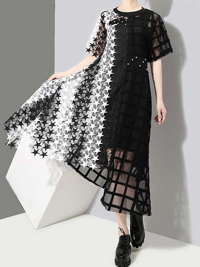 See-Through Stars Asymmetric Round Neck Short Sleeve Lace Dresses