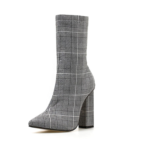 Plaid Point Toe Chunky Heel Side Zipper Cloth Plus Size Boots