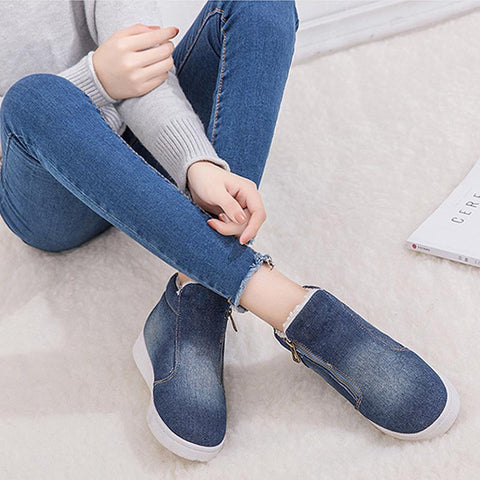 Winter new fashion casual denim large size student flat snow boots