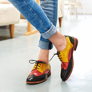 Color Block Lace-Up Hollow Wing Tips Point Toe Leather Fashion Loafers