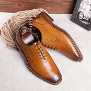 2020 new top layer cowhide formal dress soft high poly rubber business casual men's leather shoes