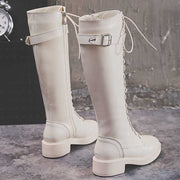 New autumn and winter round head with leather women's boots Long boots women Thick with large size boots