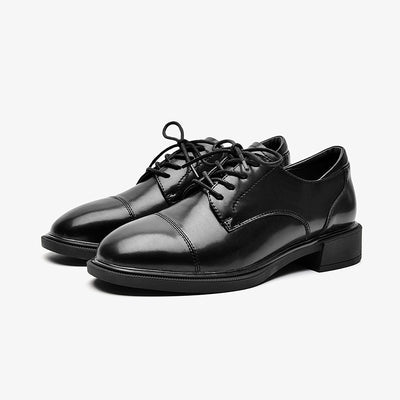 2020 new brogue women's lace-up leather shoes British style retro flat oxford shoes