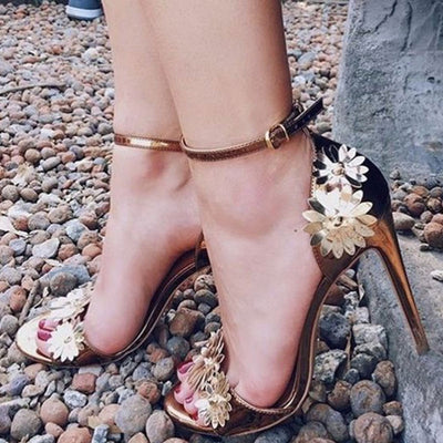 3D Flower Open Toe Stiletto Heel Ankle Strap Buckle Sandals