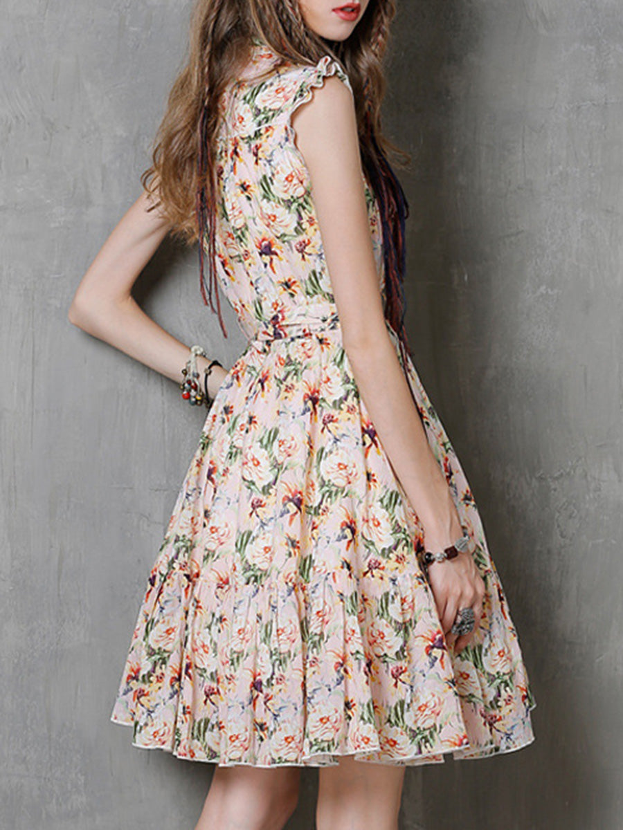 Fashion Floral Stand Collar Pleated Sleeveless Belt Ruffle Day Dresses